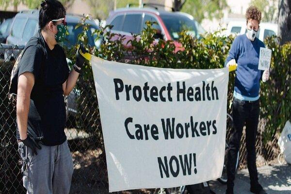 پرستاران آمریکایی مقابل کاخ سفید تجمع اعتراضی برگزار می نمایند
