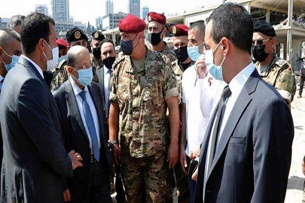 بازدید رئیس جمهور لبنان از محل انفجار در بندر بیروت