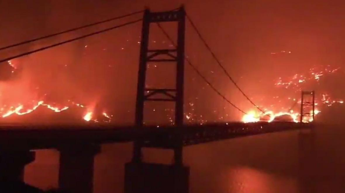 شعله های آتش درحال سوزاندن کالیفرنیا