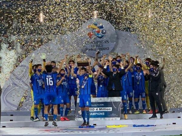 جشن قهرمانی اولسان با نورپردازی استادیوم جام جهانی